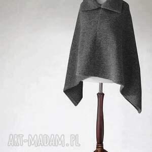 poncho z wełny parzonej kołnierzem, poncho, wełna, sweter, tkanina, dzianina