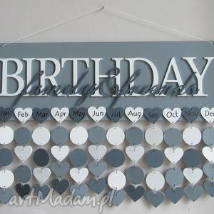 kalendarz rodzinny, urodzin, drewniany, dowolne kolory i napisy