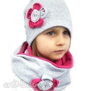 komplet dla dziewczynki, czapka, czapki, komin, kominy, szalik, szaliki