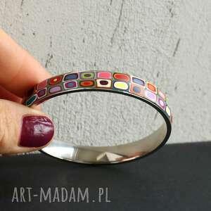 kolorowa bransoletka, kolorowe, bransoletki, prezent, stal, geometryczne, tęczowe