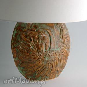 lampa ceramiczna z motywem pegaza, lampa, podstawa, ceramiczna, konia, pegaz