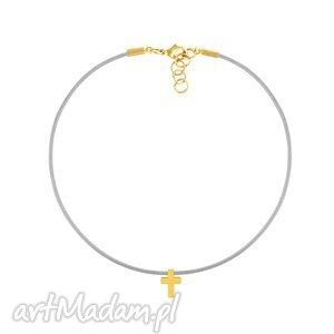 choker - sznurek szary 2, sznurek, szarość, krzyż, naszyjniki biżuteria