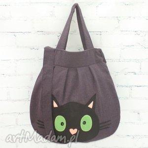 czarny kot- na szczęście, kot, filc, kocia, aplikacja, prezent, kotek torebki