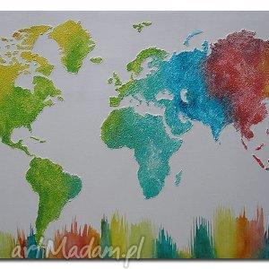 obrazy obraz mapa świata kolorowa 3d - 15 -96x54cm ręcznie malowana, mapa