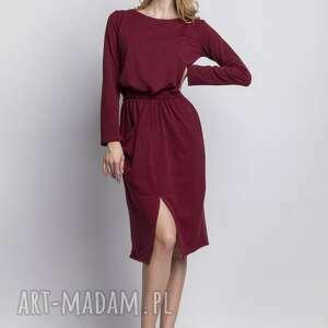 święta prezenty, sukienki sukienka, suk109 bordo, casual, asymetryczna