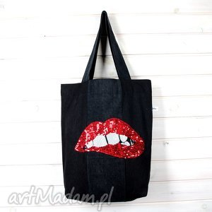 Dżinsowa torba z cekinam USTA, torebka, dżinsowa, usta, cekiny, laptop,