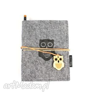 Notes filcowy Owl, notes, notatnik, filc, organizer, pamiętnik, szkicownik