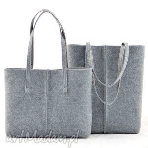 torebka szara z filcu, minimalistyczna ze szwem - koszyczek, filc, minimalizm