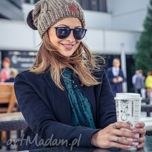 business instinct ice coffee, jesień, zima, ocieplana, pompon, handmade