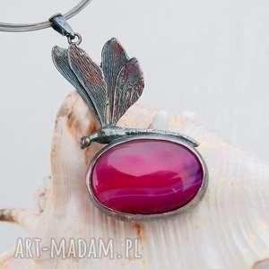 artseko a508 ważka z różowym agatem naszyjnik, srebrny, elegancki