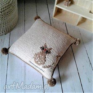 pokoik dziecka dziergana poszewka - kotek, poszewka, poduszka, wełniana, dladziecka