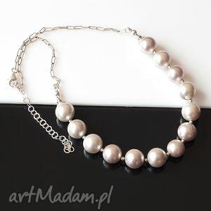srebrne perły naszyjnik - perły, seashell, srebro, ślub, naszyjnik