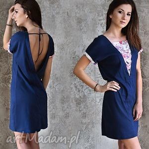 anna bartula sukienka designe yourself 100 bawełna, sukienka, kimono, granatowy