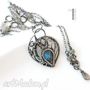 Blue Bird - srebrny naszyjnik z labradorytami, naszyjnik, labradoryt, srebrny, wire