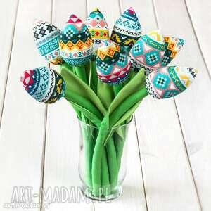 tulipany folkowy bawełniany bukiet, tulipany, kwiaty, prezent, dekoracja