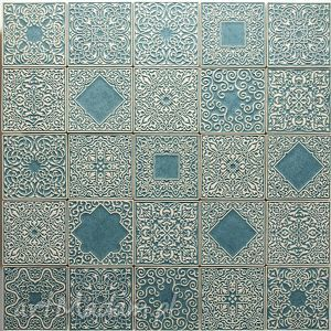 kafle zestaw szaro-turkusowy, kafle, dekory, płytki, scienne, marokańskie, ceramika