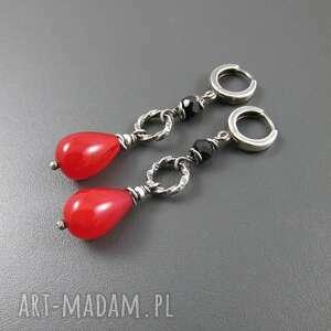 Kolczyki czerwono - czarne, srebro, oksydowane, spinel, agat