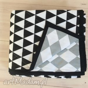 bywkml narzuta szaro-czarna trójkąty 130x230cm, narzuta, szara, trójkąty, romby