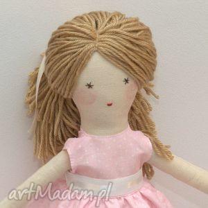 lisa w różowej sukni, lalka, szmaciana, prezent, dladziecka, szyte, włosy dla