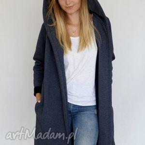 ekoszale s - m płaszcz z kapturem jansowy, bawełna, dzianina, wiosna, eko ubrania