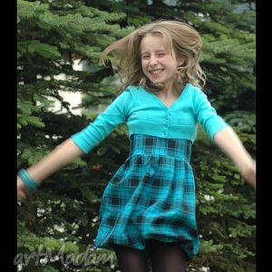 dziewczęca sukienka bombka na ramiączkach w kratę turkusowo-czarną, sukienka