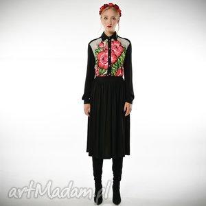 lesława midi- sukienka koszulowa w kwiaty, koszulowa, sukienka, kwiat