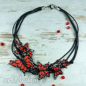 naszyjniki czerwono czarny naszyjnik z motylami, motyl, motyle, naszyjnik, kolia