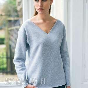 bluzy velvet grey oversize bluza, oversize, szary, casual, moda, dekolt
