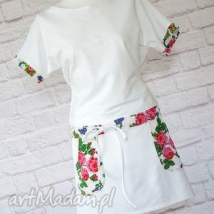 sukienki biała sukienka dresowa oversize kwiaty folk, sukienka, dresowa, folk