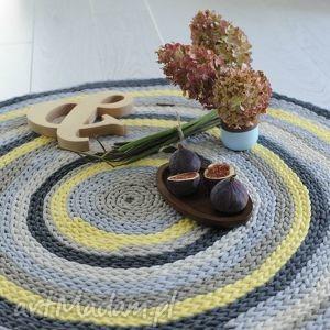 świąteczny prezent, dywany kolorowy dywan 100 cm , żółty, szary, sznurek
