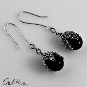 kolczyki czarne w siateczce - kolczyki, klipsy, szklane, wiszące, krople