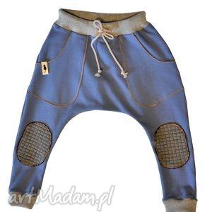 SPODNIE Niebieskie BAGGY, spodnie, baggy, niebieskie, bawełna, sznurek, łaty