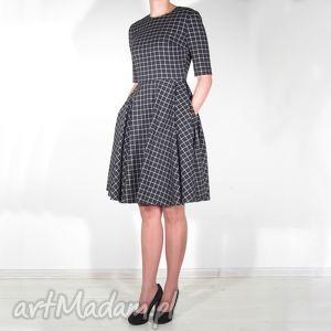 sukienki sukienka w kratkę midi z kieszeniami, sukienka, kratka, koło