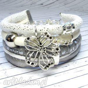 bransoletki bransoletka white silver charms do wyboru, bransoletka, rzemienie, boho
