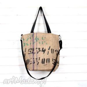 torba z juty paskiem na ramię, juta, worek, torba, pojemna, kawa, torebka torebki