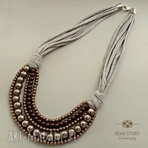 naszyjniki nelly, korale, perły, szkło, bawełna, sznurek, metal, unikalny prezent