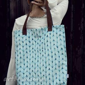 ręcznie robione na ramię torba mr. m wool turkus /uszy skóra naturalna