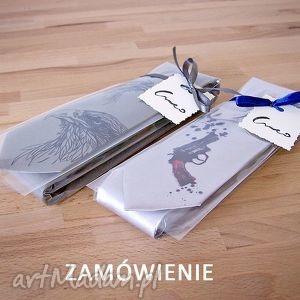 krawaty zamówienie indywidualne dla p agaty - krawat, nadruk, bicykl, szary