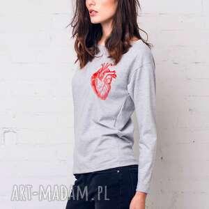 bluzki heart bluza oversize, bluzka, longsleeve, bawełna, casual, moda
