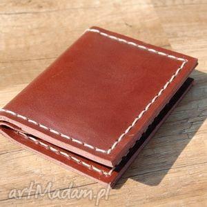 portfele czekoladowy skórzany portfel z możliwością personalizacji, portfel, skóra