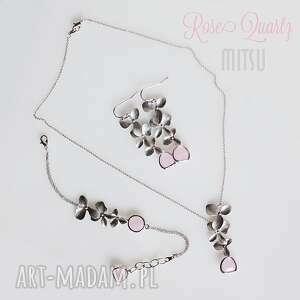 komplet rose quartz , rose, róż, pastelowe, pastele, listki, asymetryczne