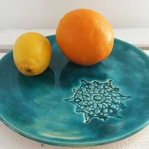 turkus z koronką - dekoracyjny talerz, koronkowy, ceramiczny, patera