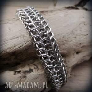 męska aluminiowa bransoleta chainmaille aligator, chainmaille, kolczuga