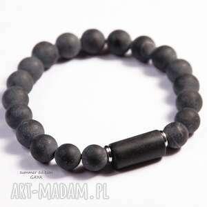 onyks mat black stone, kule, matowe, unisex, stal, chirurgiczna, prezent