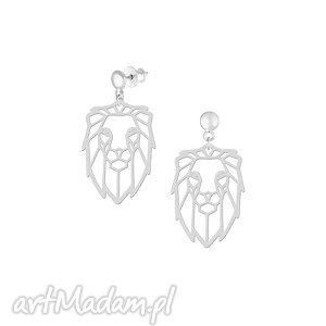 kolczyki lew - kolczyki, lew, srebro, sztyfty, geometria biżuteria