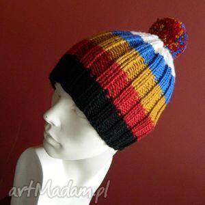 aga made by hand 100 wool pomponiasta czapka, kolorowa, paski, wool, pompon