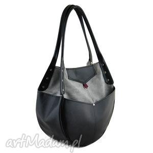 na ramię kaya - duża torba szarośc i czerń, duża, pakowna, elegancka, wyjątkowa