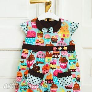 słodka bombka, bawełna, uszyte, sukienka, babeczka, groszki, bombka dla dziecka