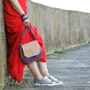 mini bambi - mała torebka beż, bordo i fiolet, mała, wygodna, modna, stylowa