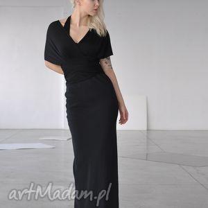 sukienki smoła - długa suknia, wizytowa, szale, kobieca, wyjściowa, jedwab, kreacja
